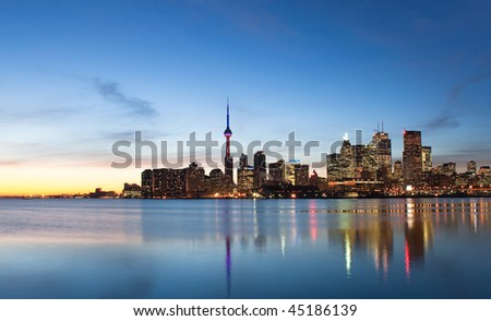 A shot of the Toronto skyline during sunset from across the lake