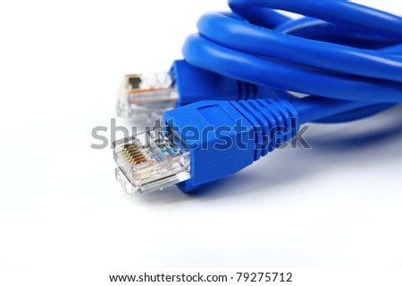 A shot of UTP network cables. Studio shot. Data Network Hardware Concept. RJ45 connectors.
