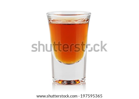 A shot of whiskey on a white background