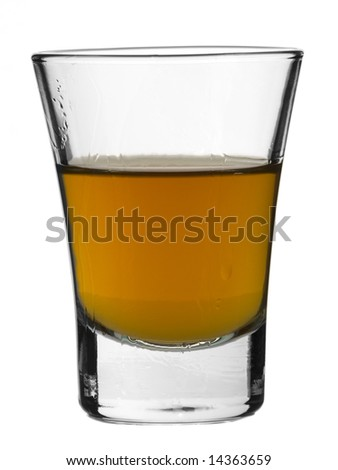 A shot of whiskey on white background.