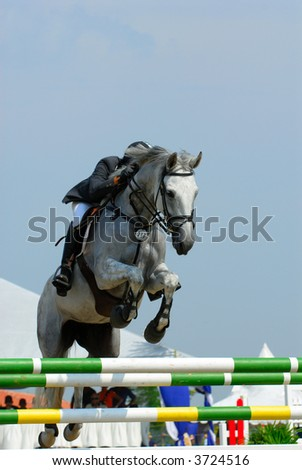 A show jump horse trying to overcome hurdles at Premiercup Equestrian event in Putrajaya, Malaysia.