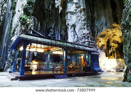 A shrine for the hindu god Lord Murugan in the middle of a large cavern located at Batu Cave Temple complex in Kuala Lumpur, Malaysia.