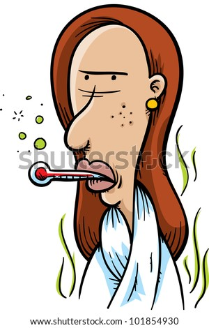 A sick, cartoon woman with a thermometer in her mouth. - stock photo