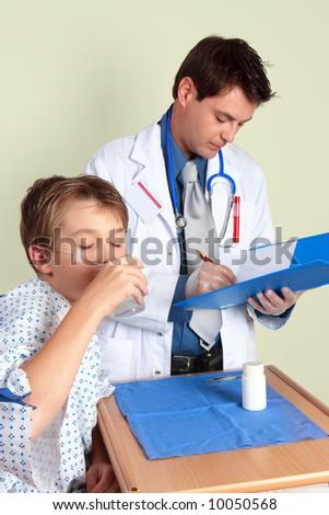 A sick child takes some medicine