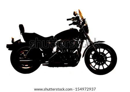 A side silhouette of a motorcycle on a white back ground.