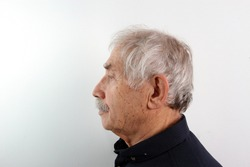 A side view (left) of an Turkish old man