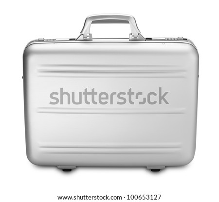 a side view modern silver briefcase isolated on white (clipping path)
