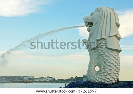 A side view of the Singapore Merlion