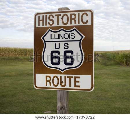 A sign marking Historic Route 66 in rural Illinois