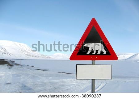 A sign of an ice bear