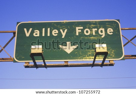 """A sign that reads """"Valley Forge"""""""