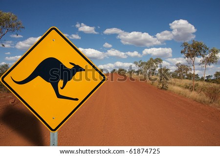 A sign warning of Kangaroos in the red outback track of Australia