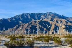 A significant number of Windmills at Palm Springs, California, USA.