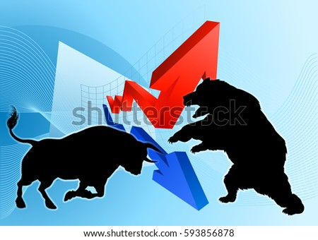 A silhouette bear fighting a bull mascot characters in front of a stock market or profit graph financial concept