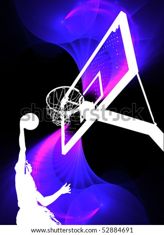 Dunking A Basketball. silhouette of a basketball