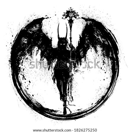 A silhouette of a demon girl with huge wings holds a strange staff in her hand, she has long horns, she soars in the air. 2D illustration Stock photo ©