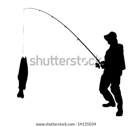 A silhouette of a fisherman with a fish isolated on white background