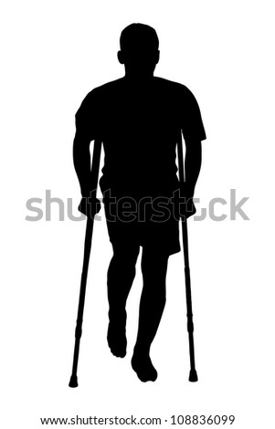 A silhouette of a full length portrait of an injured man on crutches isolated against white background