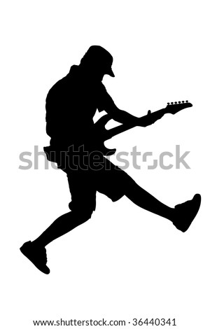 A silhouette of a guitar player jumping in midair isolated against white background