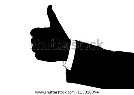 A silhouette of a hand giving thumb up isolated on white background