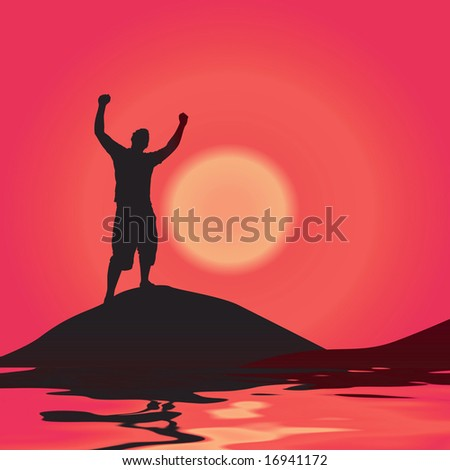 A silhouette of a man by some water with his arms raised up in the air. - stock photo