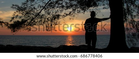A silhouette of a man standing by the big tree on the beach watching the beautiful golden sunset #686778406