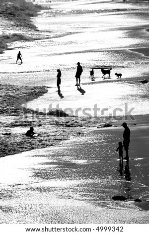 A silhouette of a man standing in the surf, holding his son\'s hand, with other people and dogs in the background