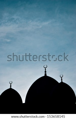 A silhouette of a mosque in Dubai
