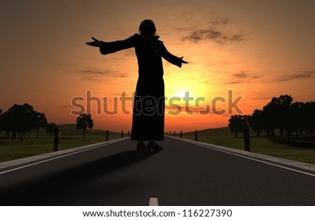 A silhouette of a priest on the Road