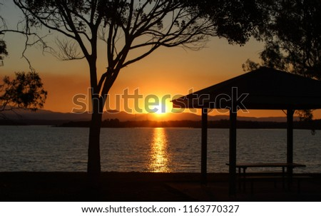 A silhouette of a tree & park bench in front of the sun as it was setting over the North Pine Dam. This photo was taken in Brisbane, Australia.