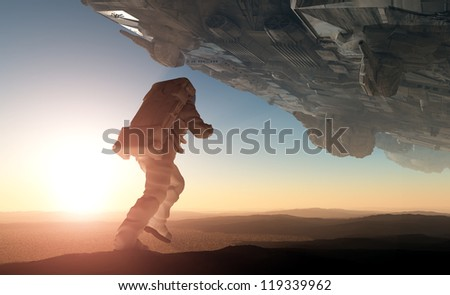 A silhouette of an astronaut in sunlight.