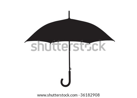 A silhouette of an umbrella isolated on white background