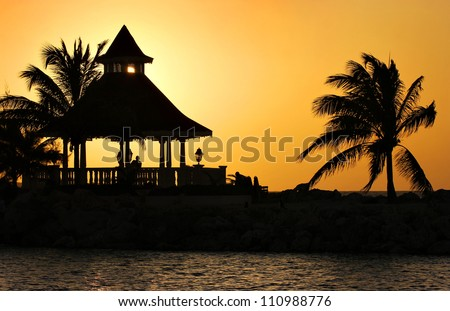 A Silhouette of Gazebo at Sunset, Jamaica