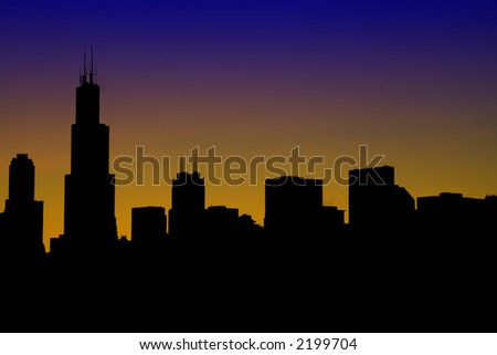 A silhouette of modern downtown buildings and skyscrapers