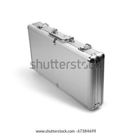 A silver briefcase costs on a white background. Isolated path included