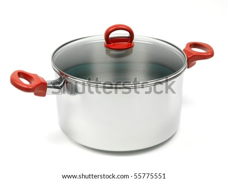 A silver cooking pot isolated against a white background