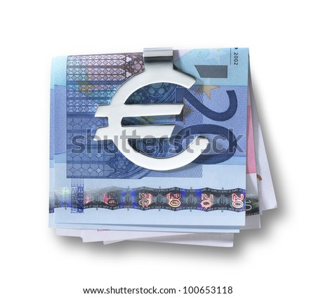 a silver euro money clip  and folded euros with clipping path