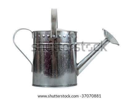 A silver galvanized watering can on a white background