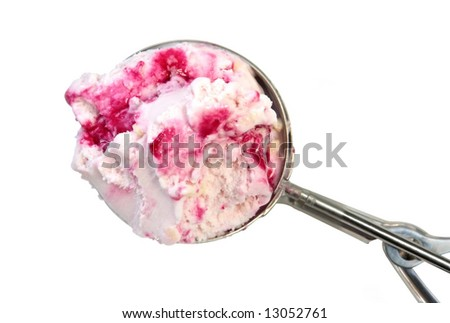 A silver ice cream scoop filled with berry ice cream.  Isolated on white.
