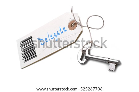 A silver key with a tag attached with a Delegate concept written on it.