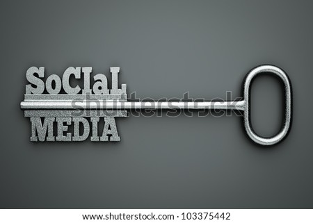 """a silver key with words """"social"""" and """"media"""" as a concept"""