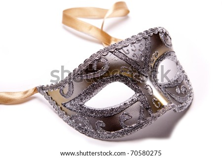 A silver party mask on a white background.