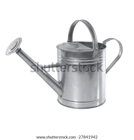 A simple aluminium watering can isolated on white background