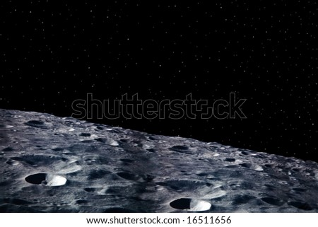 a simple background of the moon surface and stars at night in the sky of our own universe