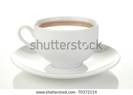 A simple cup of green tea on a white background