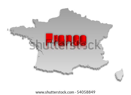 A simple 3D raster map of France.