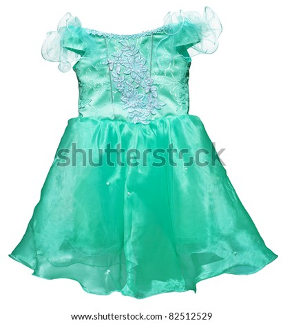 A simple green dress for little girl isolated on white background - stock photo
