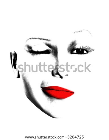 A simple image of a female face that is winking.