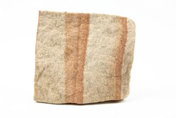 A simple image of a piece of sandstone rock isolated on a white background.