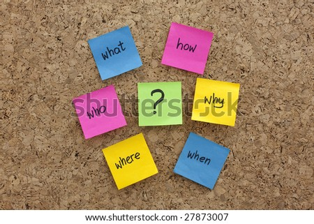 a simple mind map with questions (what, when, where, why, how, who)  to solve a problem posted with colorful sticky notes on cork board